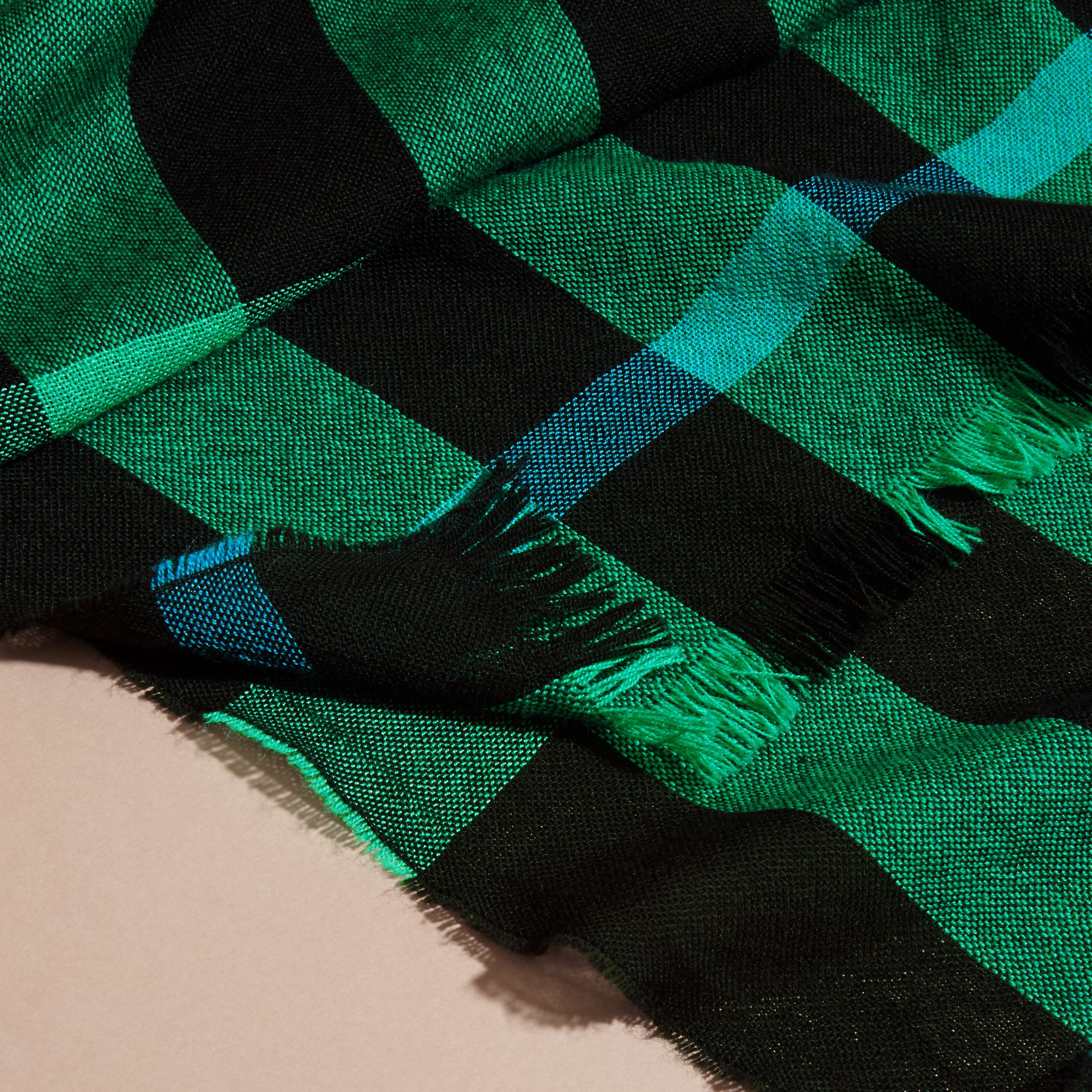 Lightweight Check Wool Cashmere Scarf Bright Green - gallery image 2