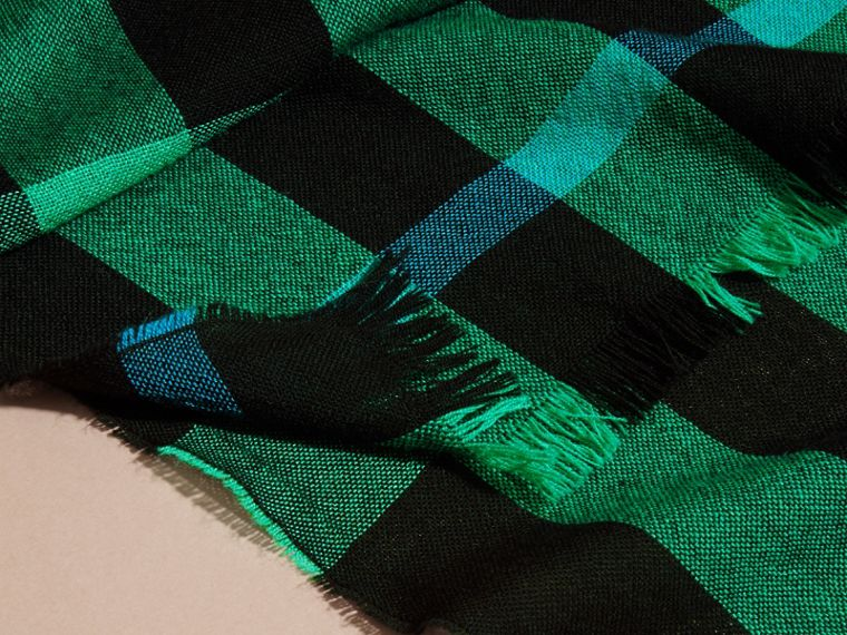 Lightweight Check Wool Cashmere Scarf Bright Green - cell image 1