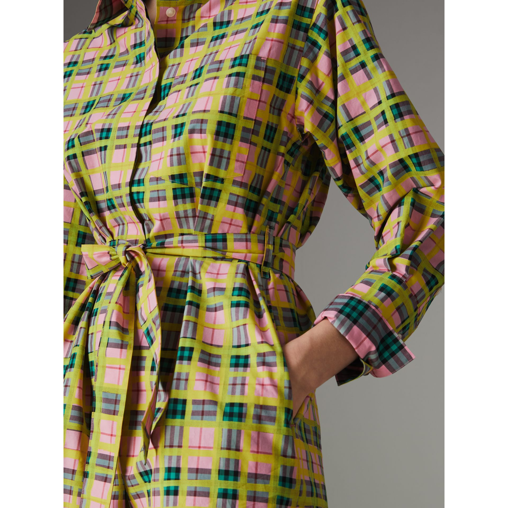 Painted Check Cotton Tie-waist Shirt Dress in Bright Coral Pink - Women | Burberry - gallery image 1
