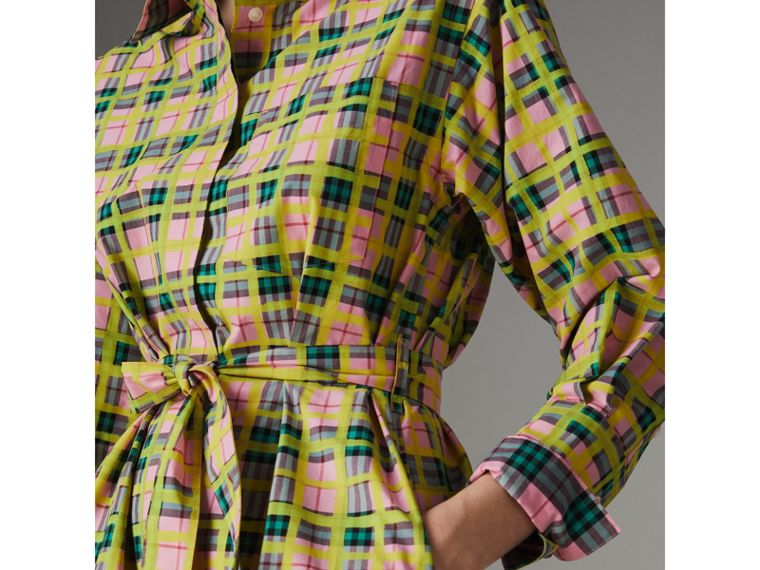Painted Check Cotton Tie-waist Shirt Dress in Bright Coral Pink - Women | Burberry - cell image 1