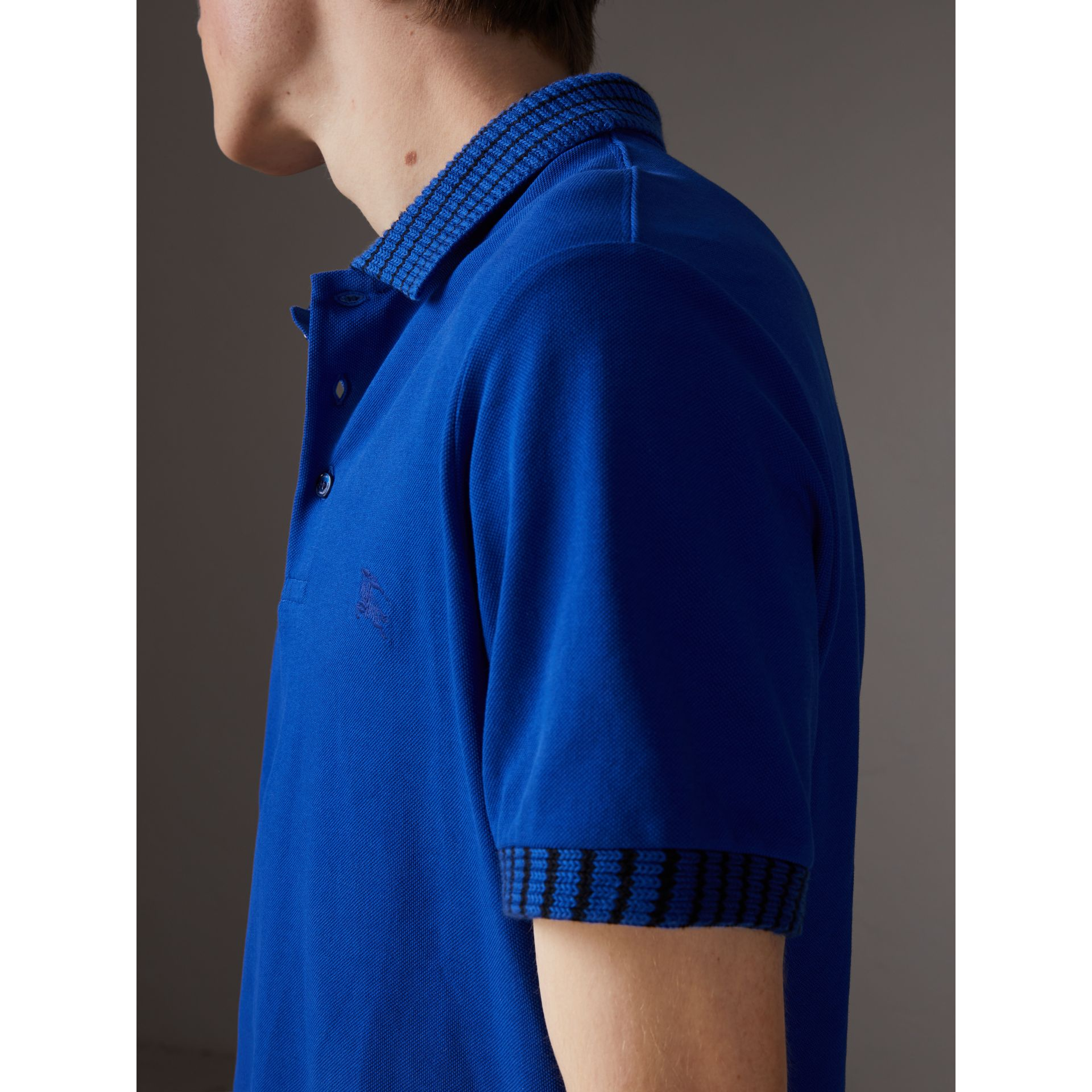 Knitted Detail Cotton Piqué Polo Shirt in Brilliant Blue - Men | Burberry - gallery image 1