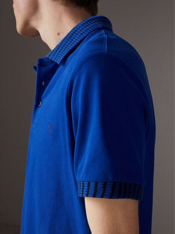 Knitted Detail Cotton Piqué Polo Shirt in Brilliant Blue - Men | Burberry - cell image 1