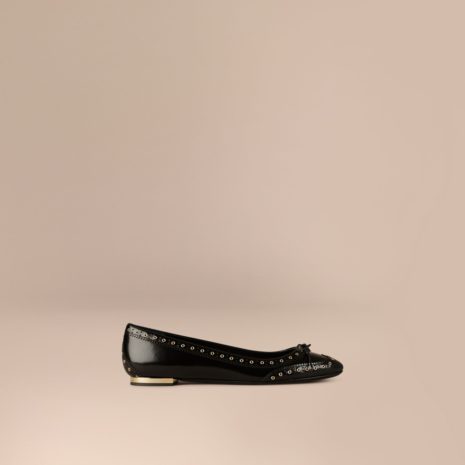 Black Online Exclusive Wingtip Leather Ballerinas - gallery image 1