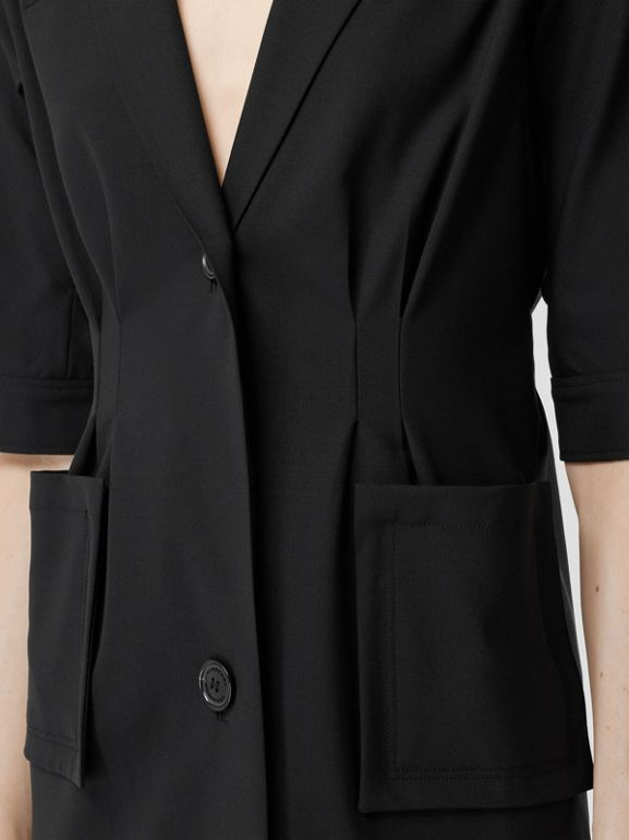 Short-sleeve Stretch Wool Dress in Black - Women | Burberry - cell image 1