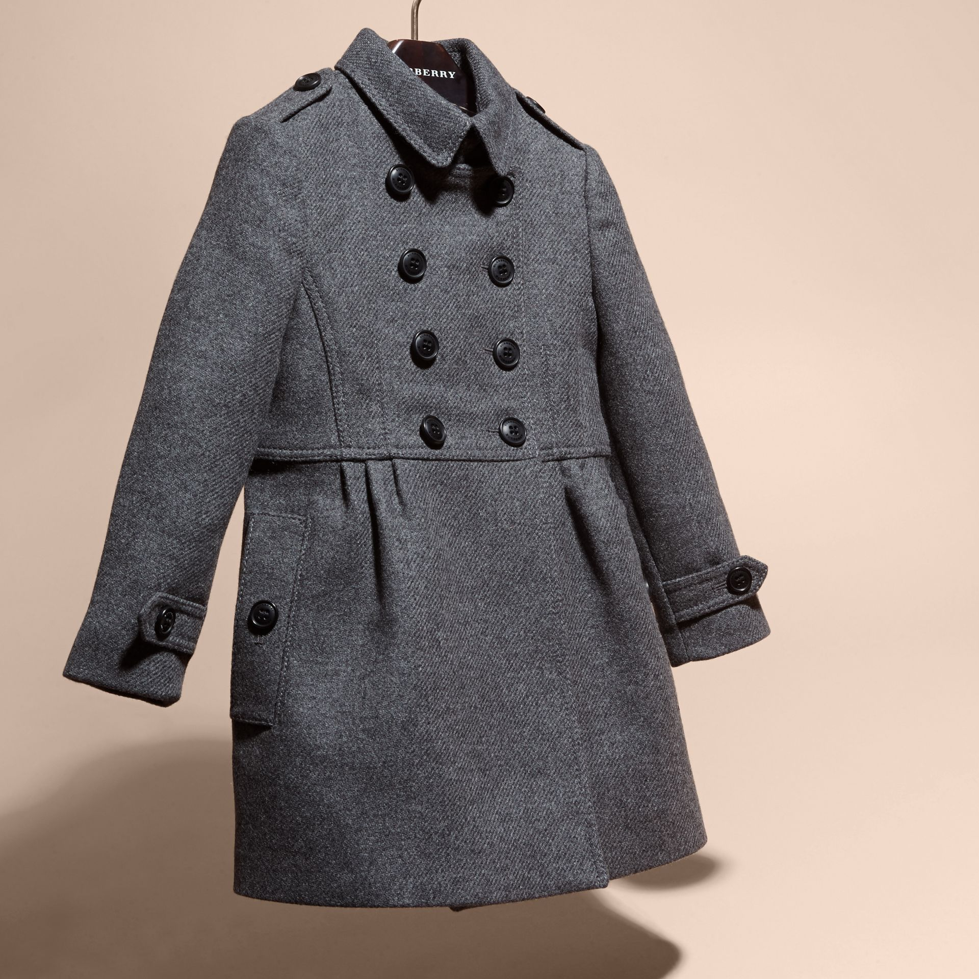 Mid grey melange Tailored Wool Cashmere Blend Coat Mid Grey Melange - gallery image 3