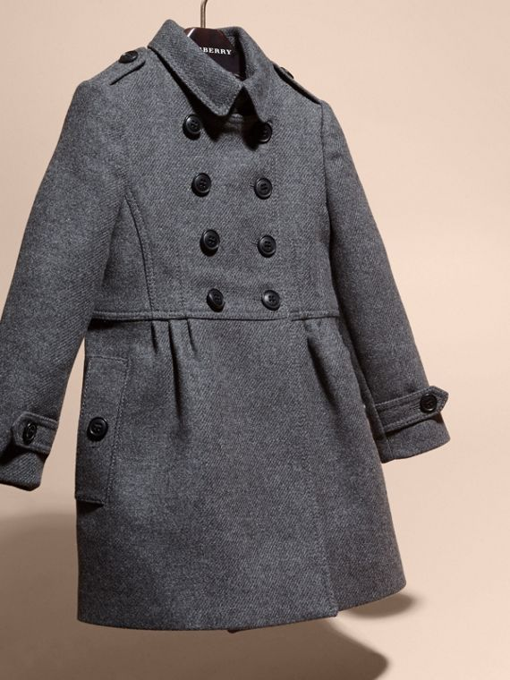 Mid grey melange Tailored Wool Cashmere Blend Coat Mid Grey Melange - cell image 2