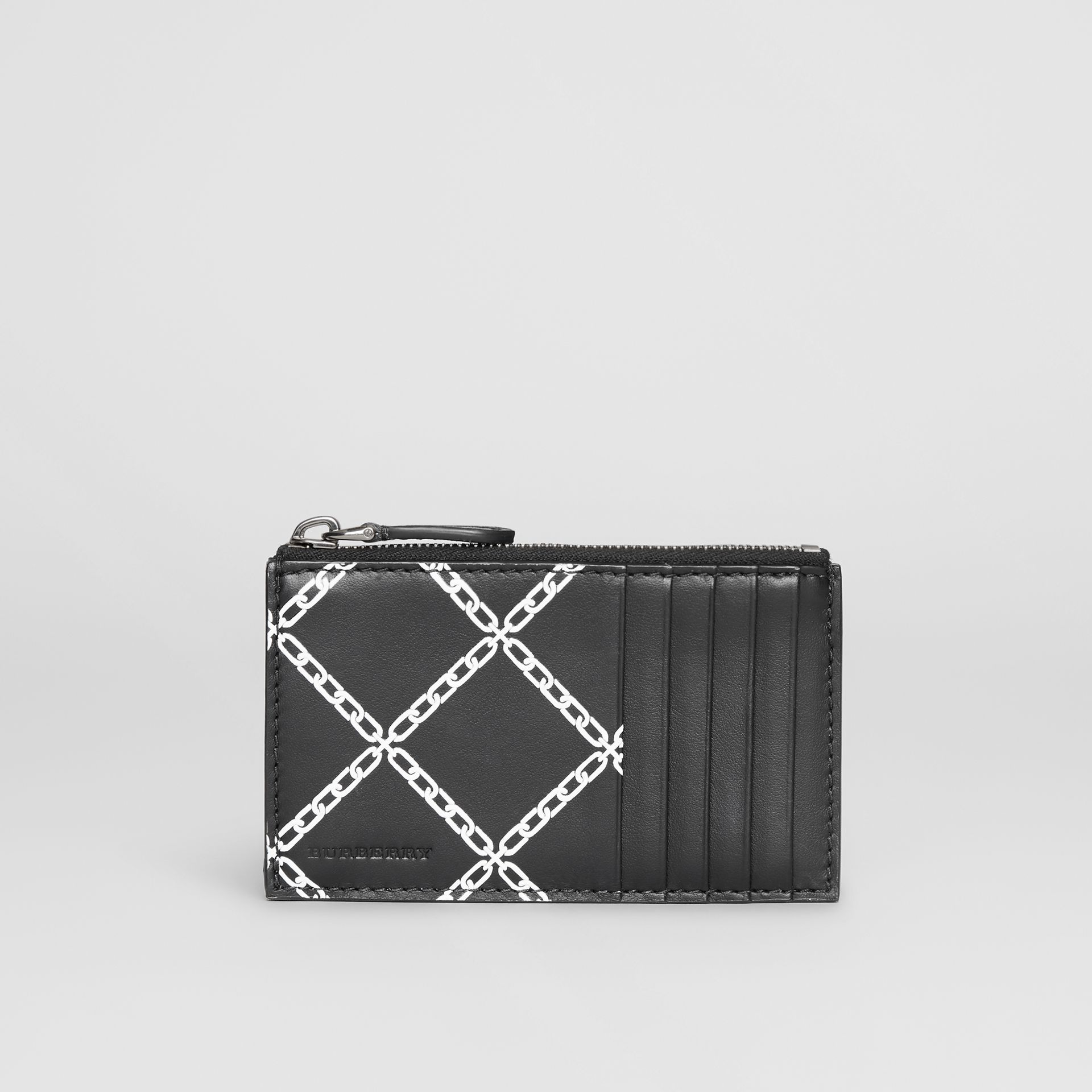 Link Print Leather Card Case in Black - Men | Burberry - gallery image 2