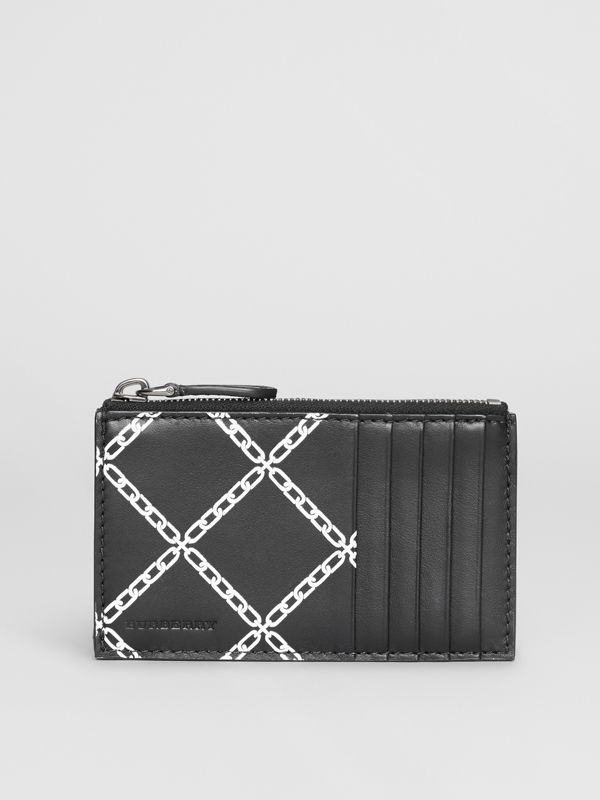 Link Print Leather Card Case in Black - Men | Burberry - cell image 2