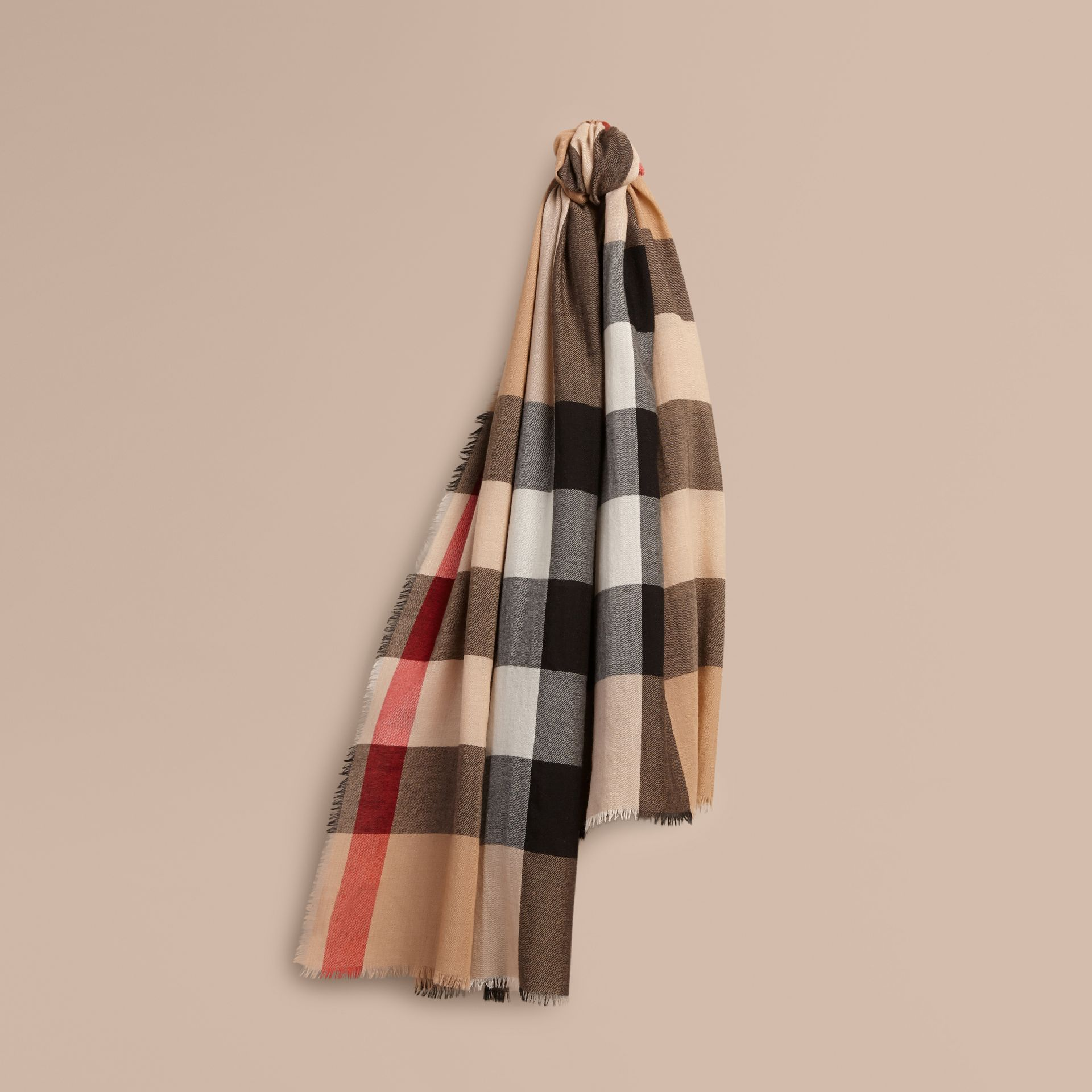 The Lightweight Cashmere Scarf in Check in Camel - gallery image 6