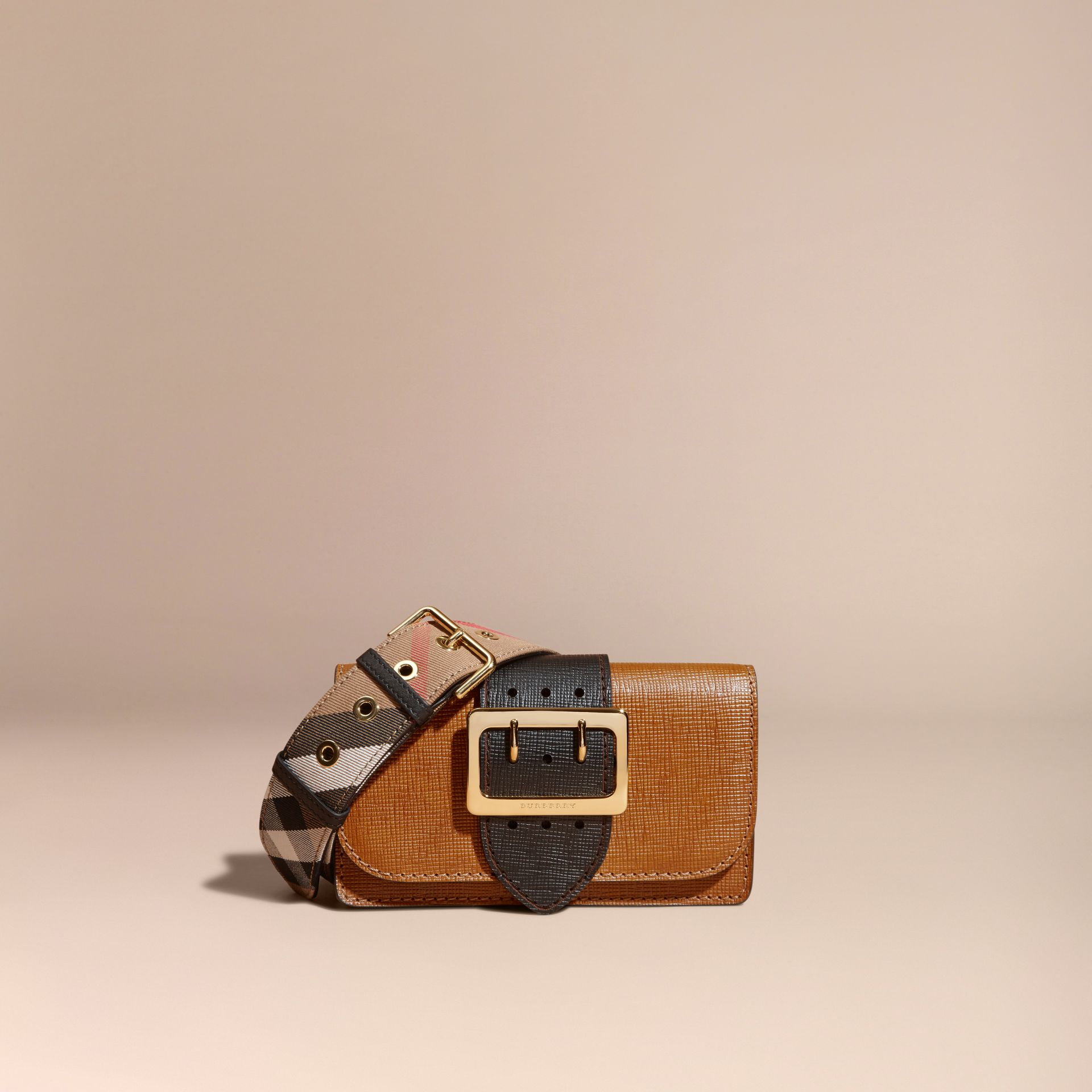 Tan / black The Small Buckle Bag in Grainy Leather - gallery image 9