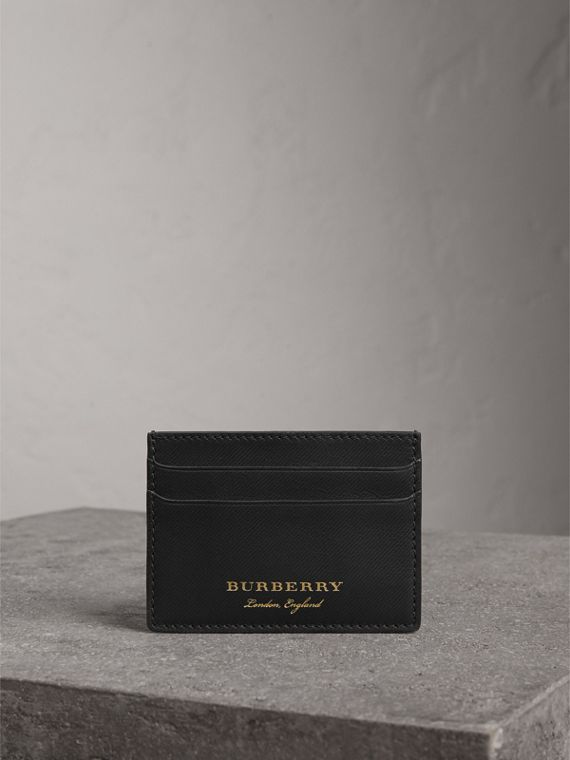 Trench Leather Card Case in Black - Men | Burberry - cell image 3