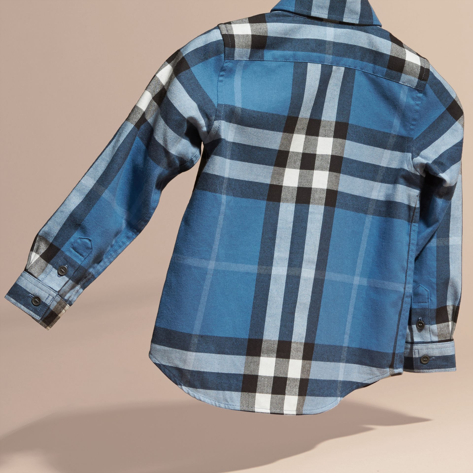 Bright steel blue Check Cotton Flannel Button-Down Shirt - gallery image 3