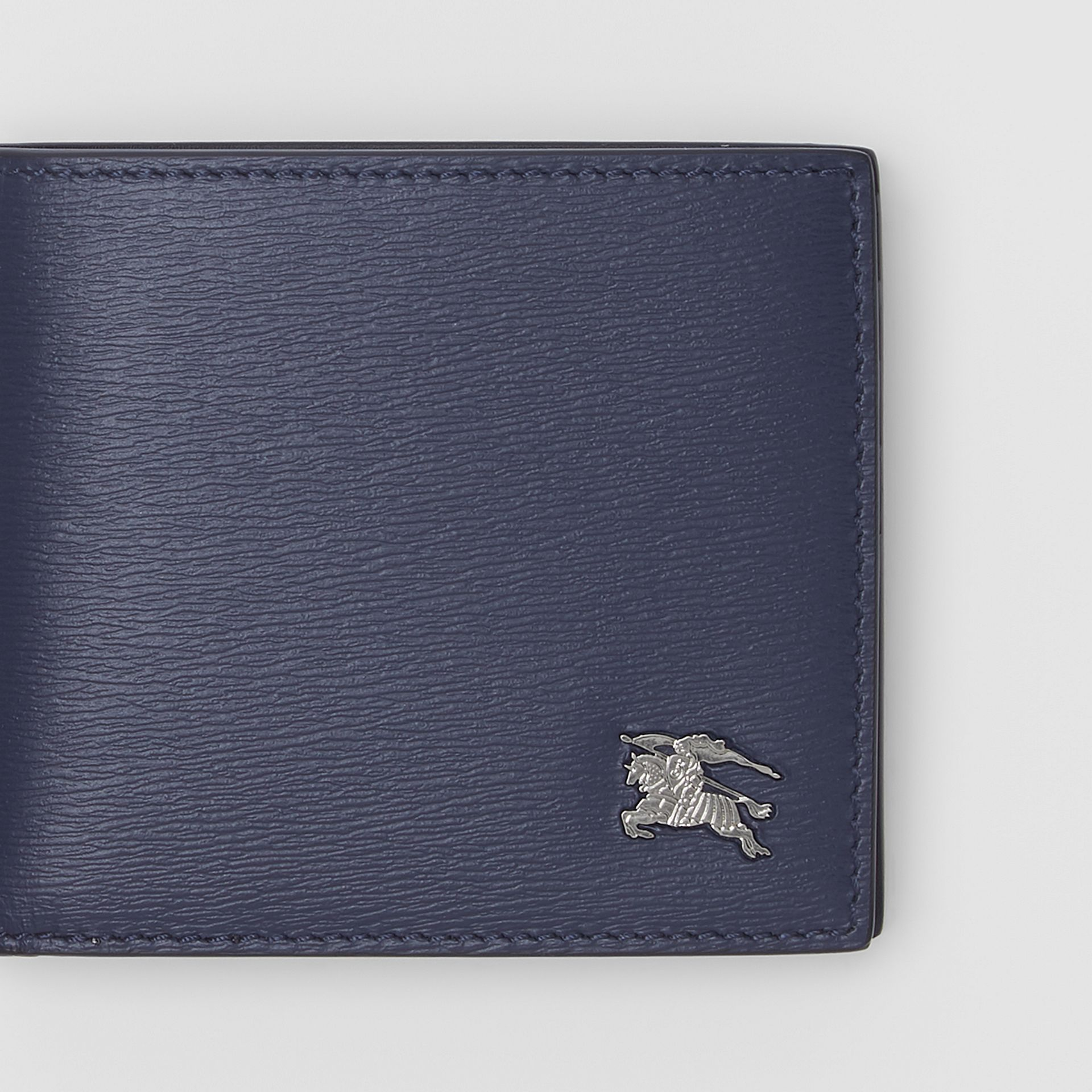 London Leather Bifold Wallet with ID Card Case in Navy - Men | Burberry United Kingdom - gallery image 1