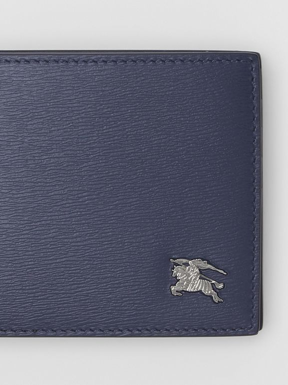 London Leather Bifold Wallet with ID Card Case in Navy - Men | Burberry Australia - cell image 1