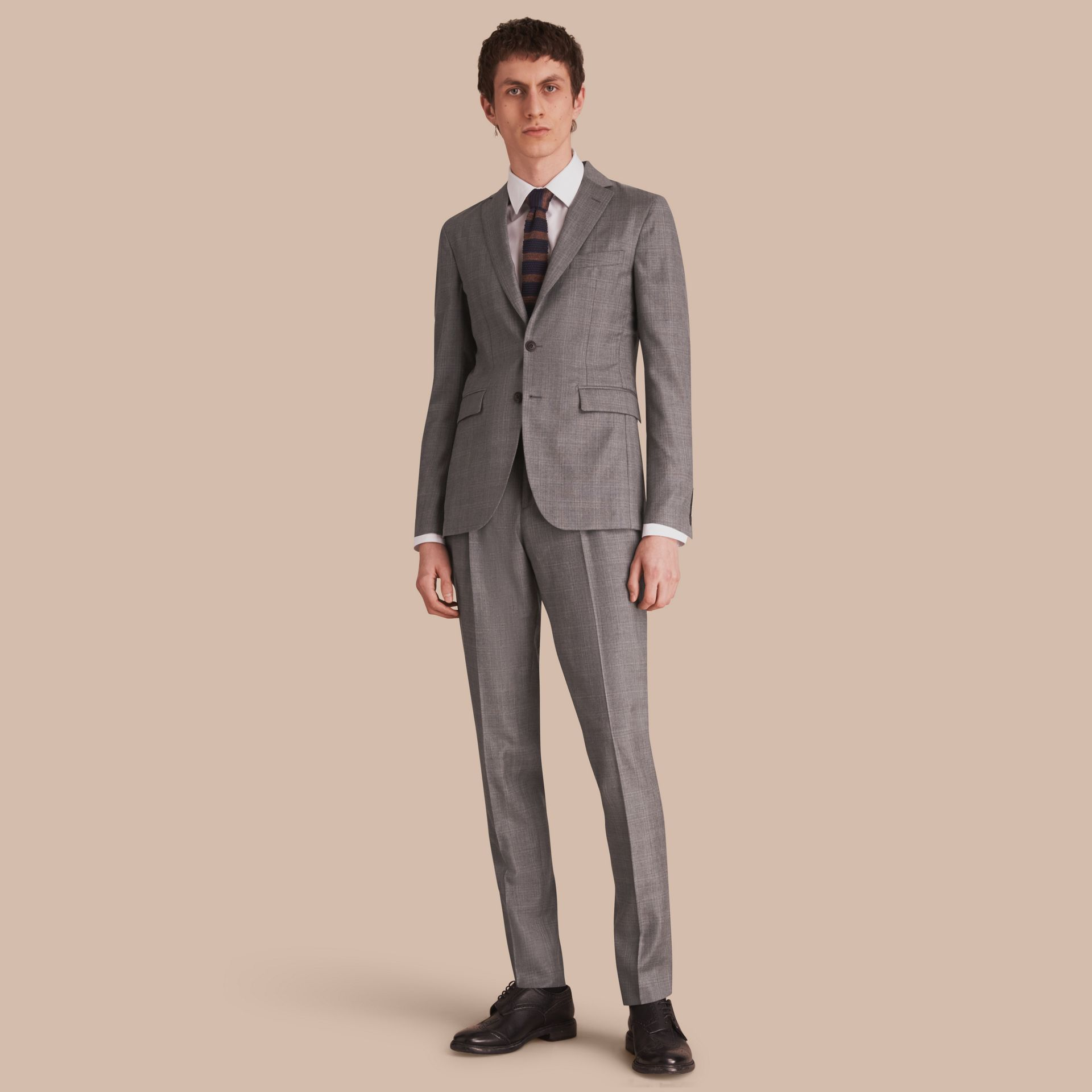Slim Fit Prince of Wales Check Wool Part-canvas Suit in Pale Grey - Men | Burberry - gallery image 1
