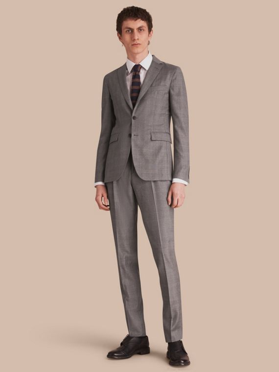 Slim Fit Prince of Wales Check Wool Part-canvas Suit
