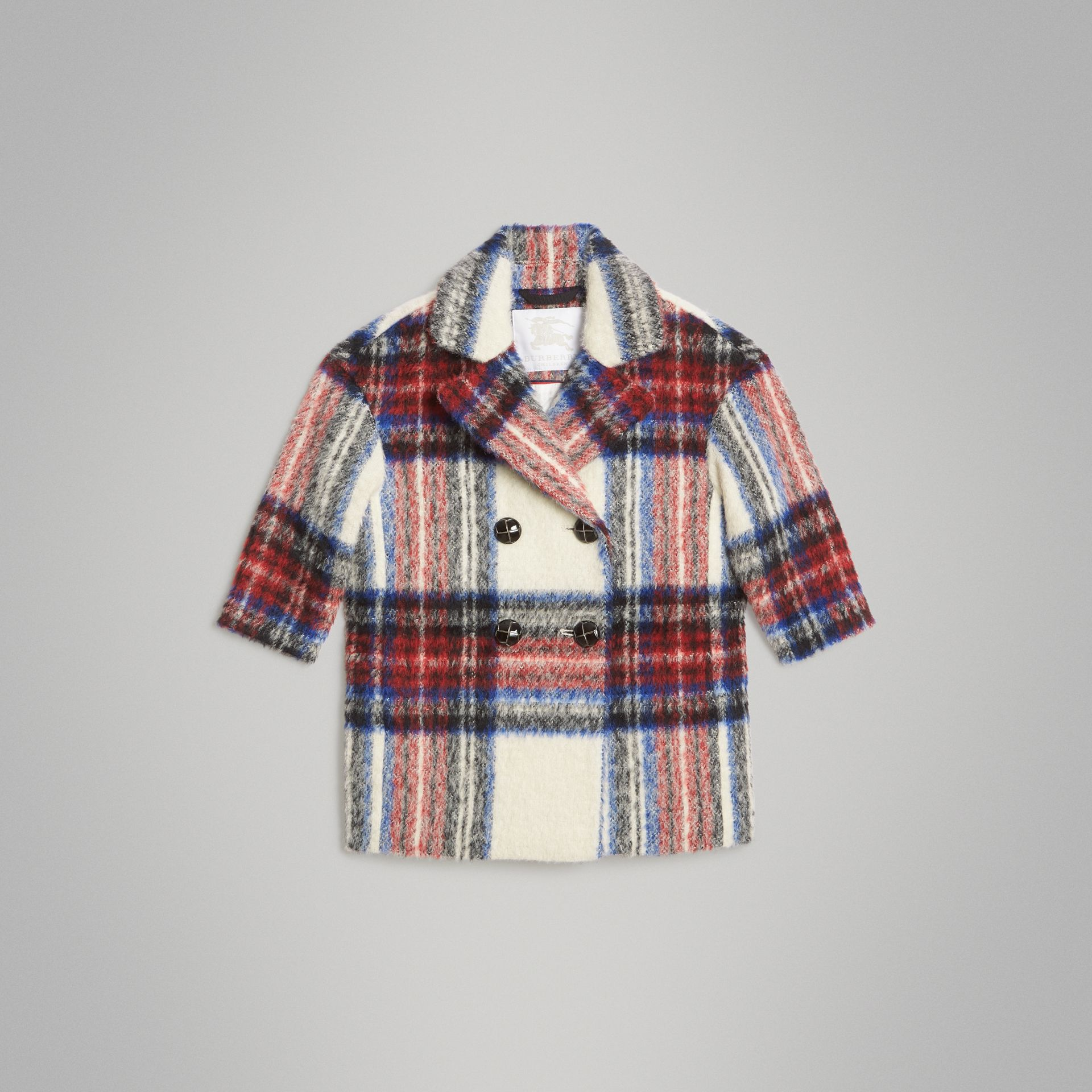 Tartan Wool Alpaca Blend Tailored Coat in Natural White - Children | Burberry - gallery image 0