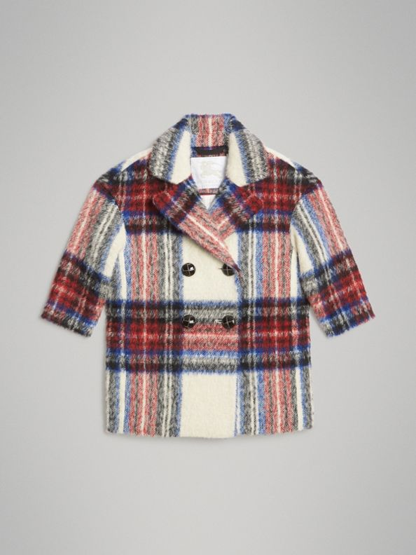 Tartan Wool Alpaca Blend Tailored Coat in Natural White