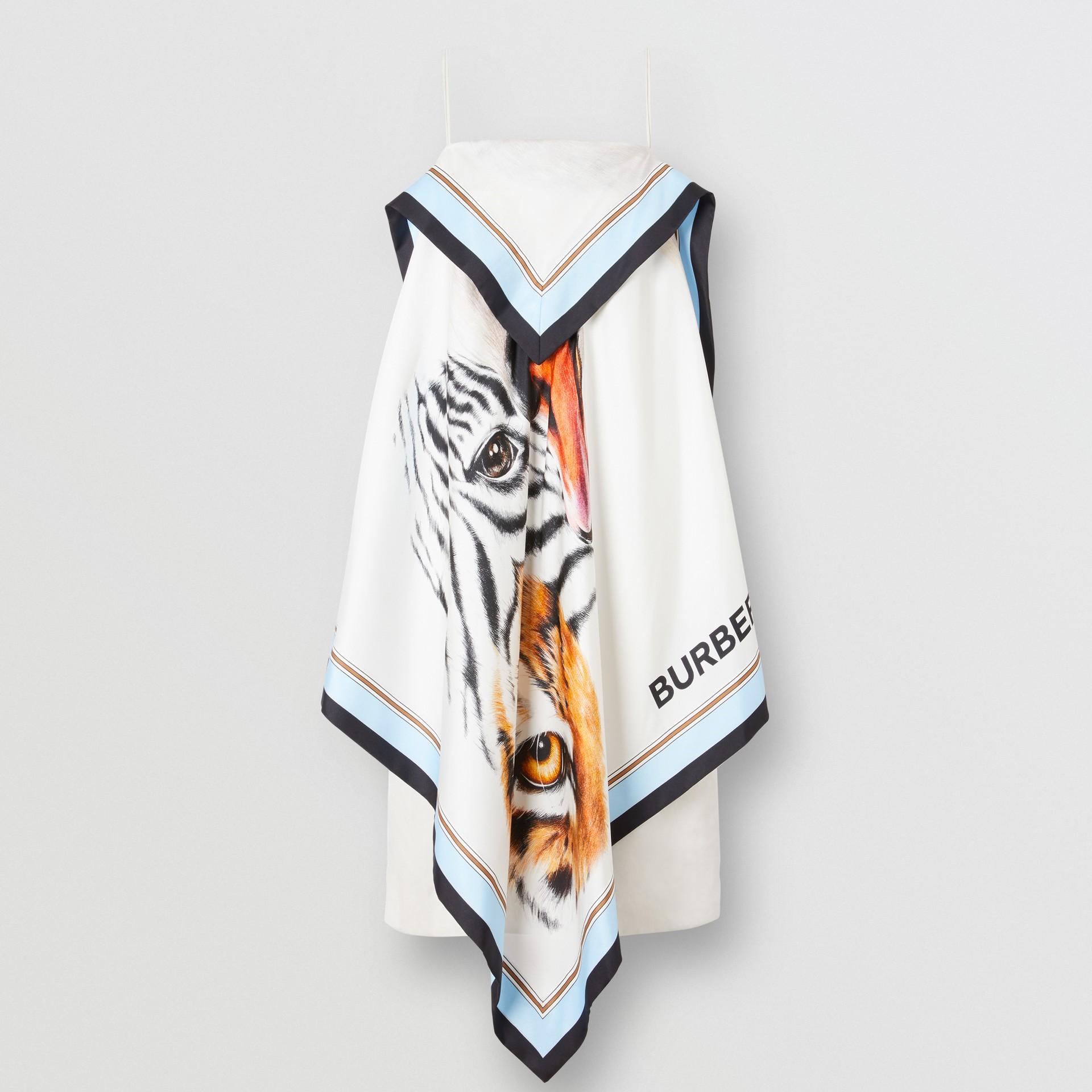 Animalia Print Silk Scarf Dress in Porcelain - Women | Burberry - gallery image 6
