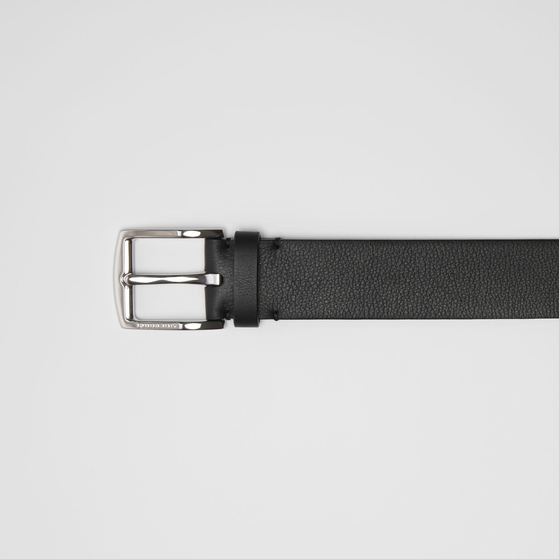 Embossed Crest Leather Belt in Black - Men | Burberry - gallery image 1