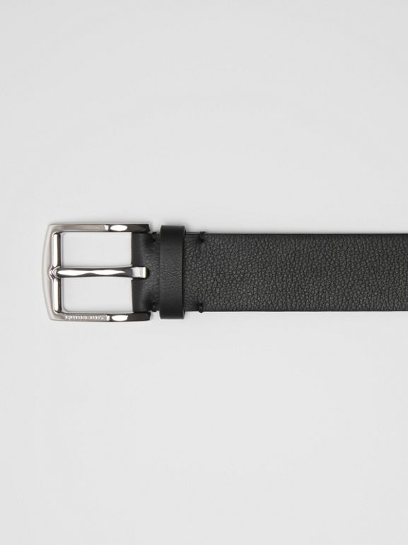 Embossed Crest Leather Belt in Black - Men | Burberry - cell image 1