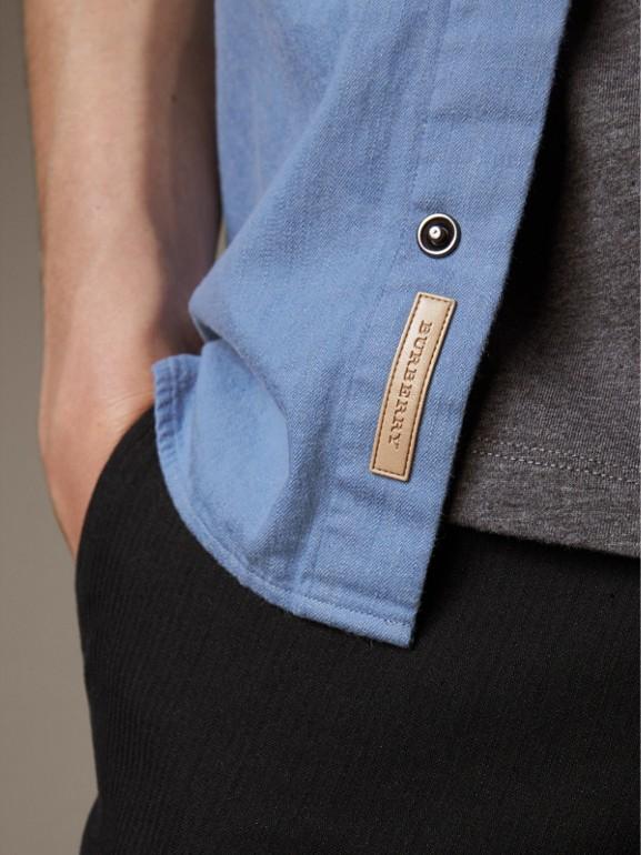 Japanese Denim Shirt in Light Blue - Men | Burberry - cell image 1