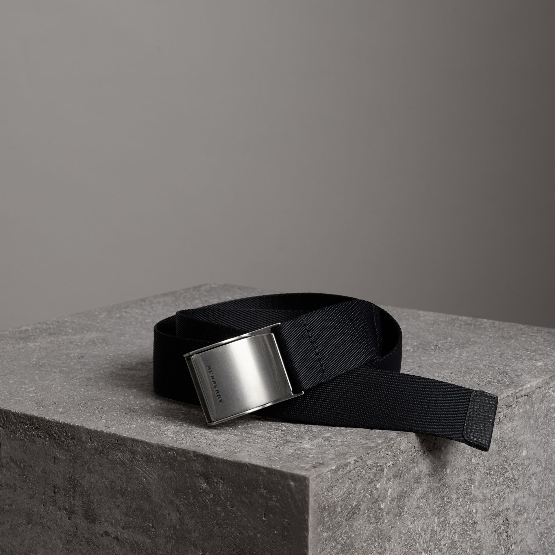 Plaque Buckle Nylon Belt in Black - Men | Burberry - gallery image 0