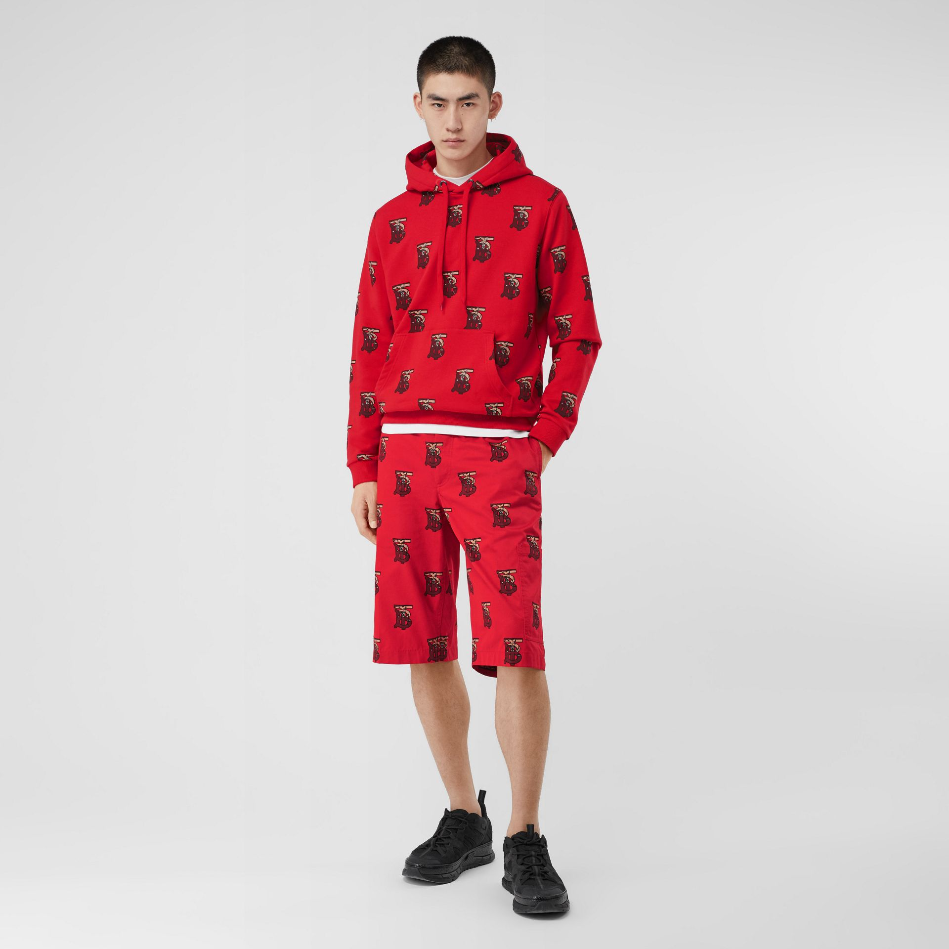 Monogram Motif Cotton Oversized Hoodie in Bright Red - Men | Burberry - gallery image 0