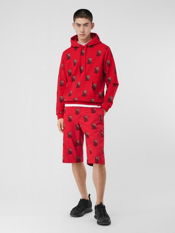 Suéter com capuz oversize de algodão com monograma (Vermelho Intenso)