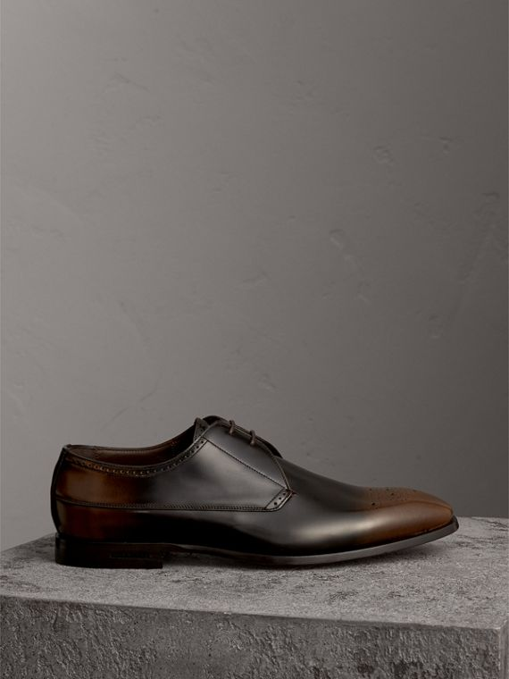 Ombré Perforated Detail Leather Derby Shoes in Chocolate Brown - Men | Burberry United Kingdom - cell image 3
