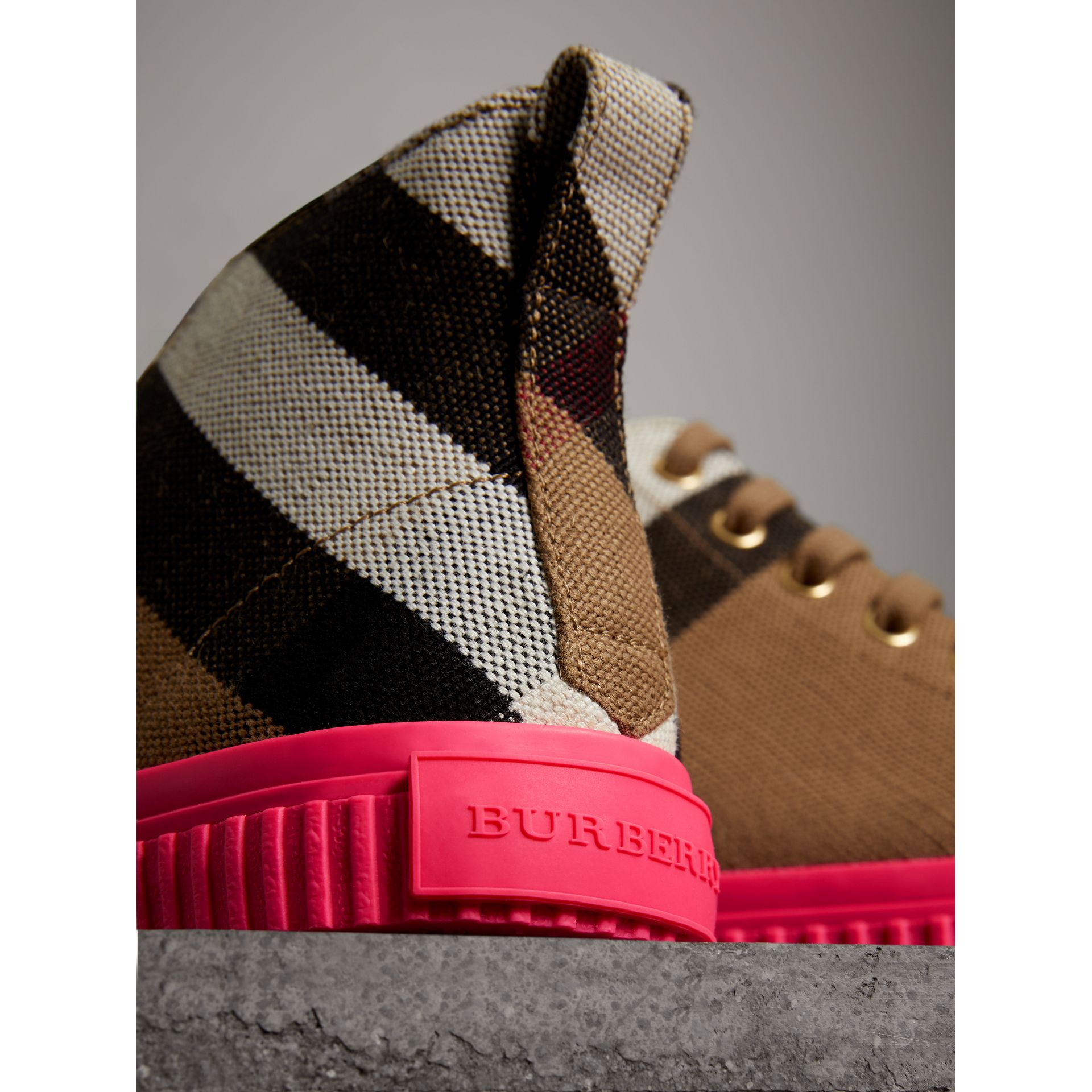 Canvas Check and Leather High-top Trainers in Classic - Women | Burberry - gallery image 2