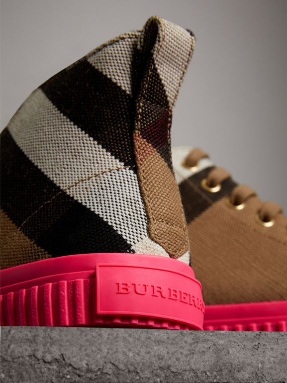 Canvas Check and Leather High-top Sneakers in Classic - Women | Burberry - cell image 1