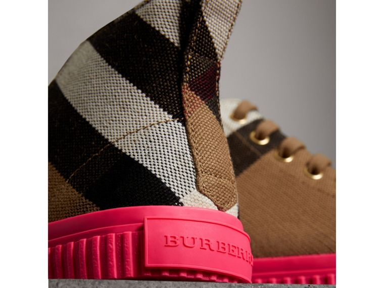 Canvas Check and Leather High-top Trainers in Classic - Women | Burberry - cell image 1