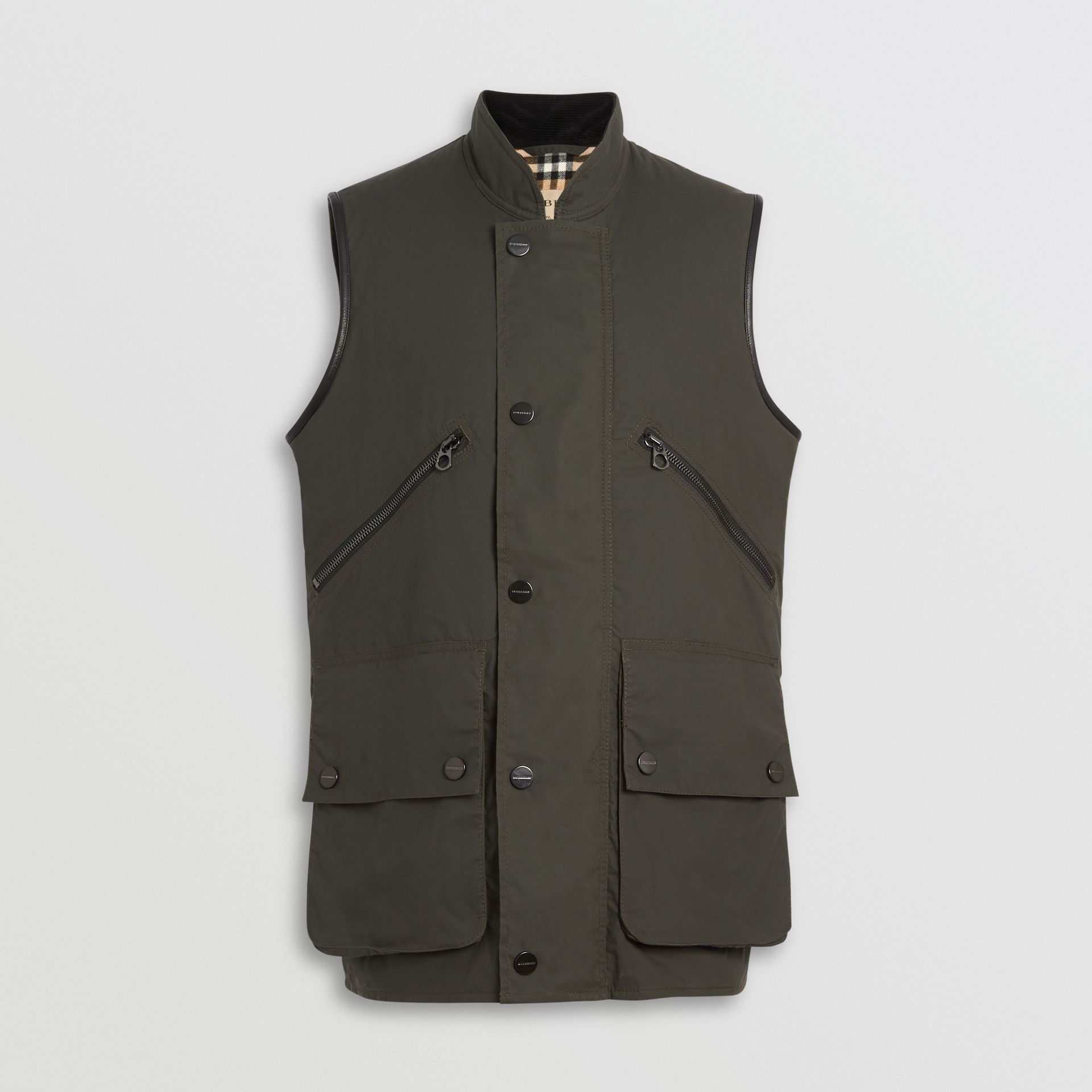 Detachable Hood Waxed Cotton Gilet in Olive - Men | Burberry - gallery image 3