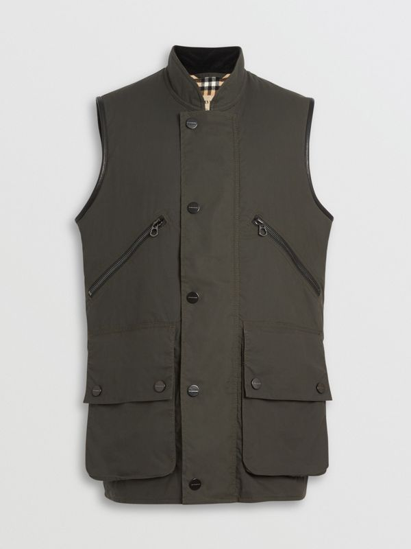 Detachable Hood Waxed Cotton Gilet in Olive - Men | Burberry Australia - cell image 3