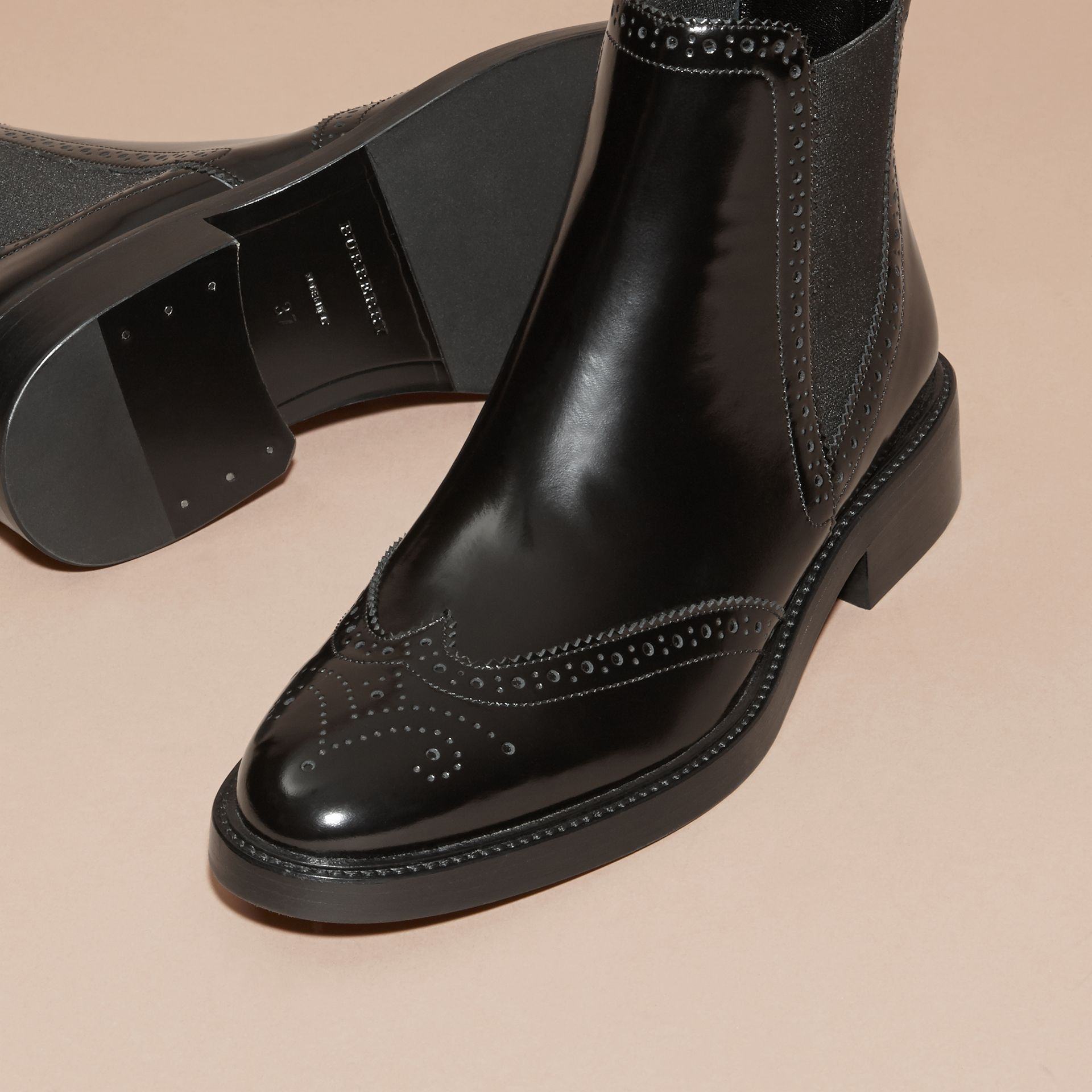Leather Wingtip Chelsea Boots in Black - Women | Burberry - gallery image 6