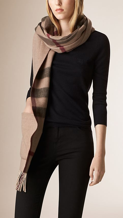 Smoked trench check Check Wool Cashmere Stole - Image 2