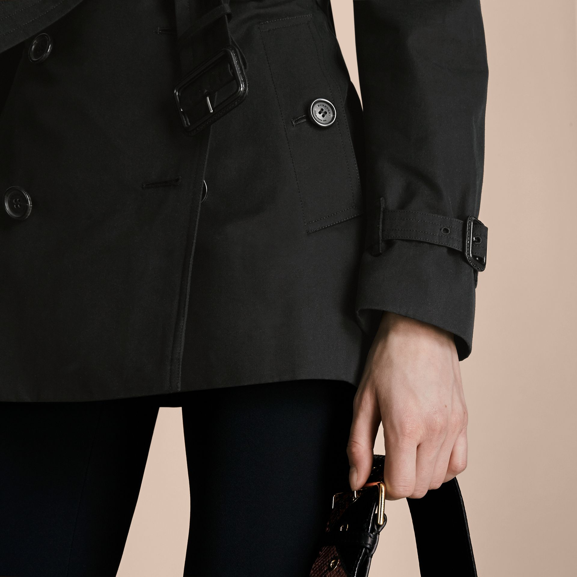 Black The Kensington – Short Heritage Trench Coat Black - gallery image 7