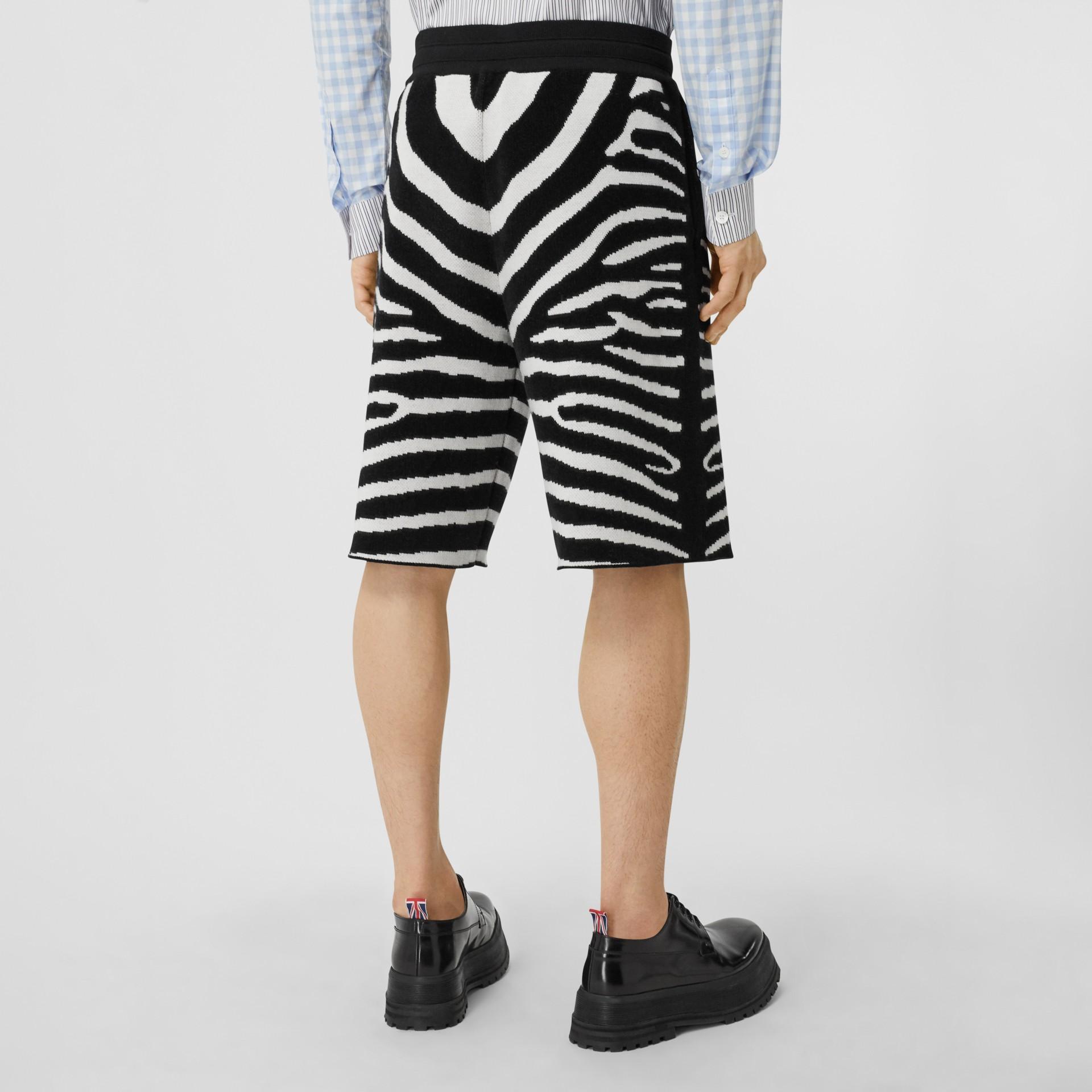 Zebra Wool Blend Jacquard Drawcord Shorts in Black | Burberry United Kingdom - gallery image 2