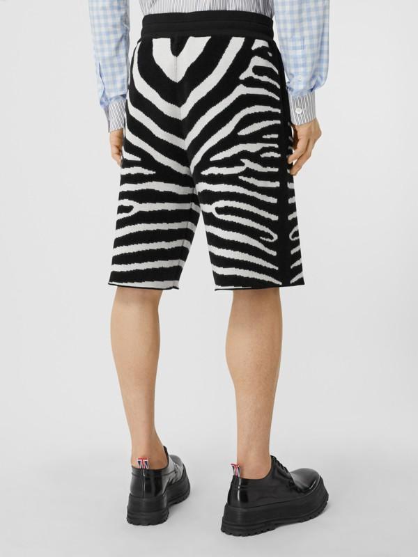 Zebra Wool Blend Jacquard Drawcord Shorts in Black | Burberry United Kingdom - cell image 2