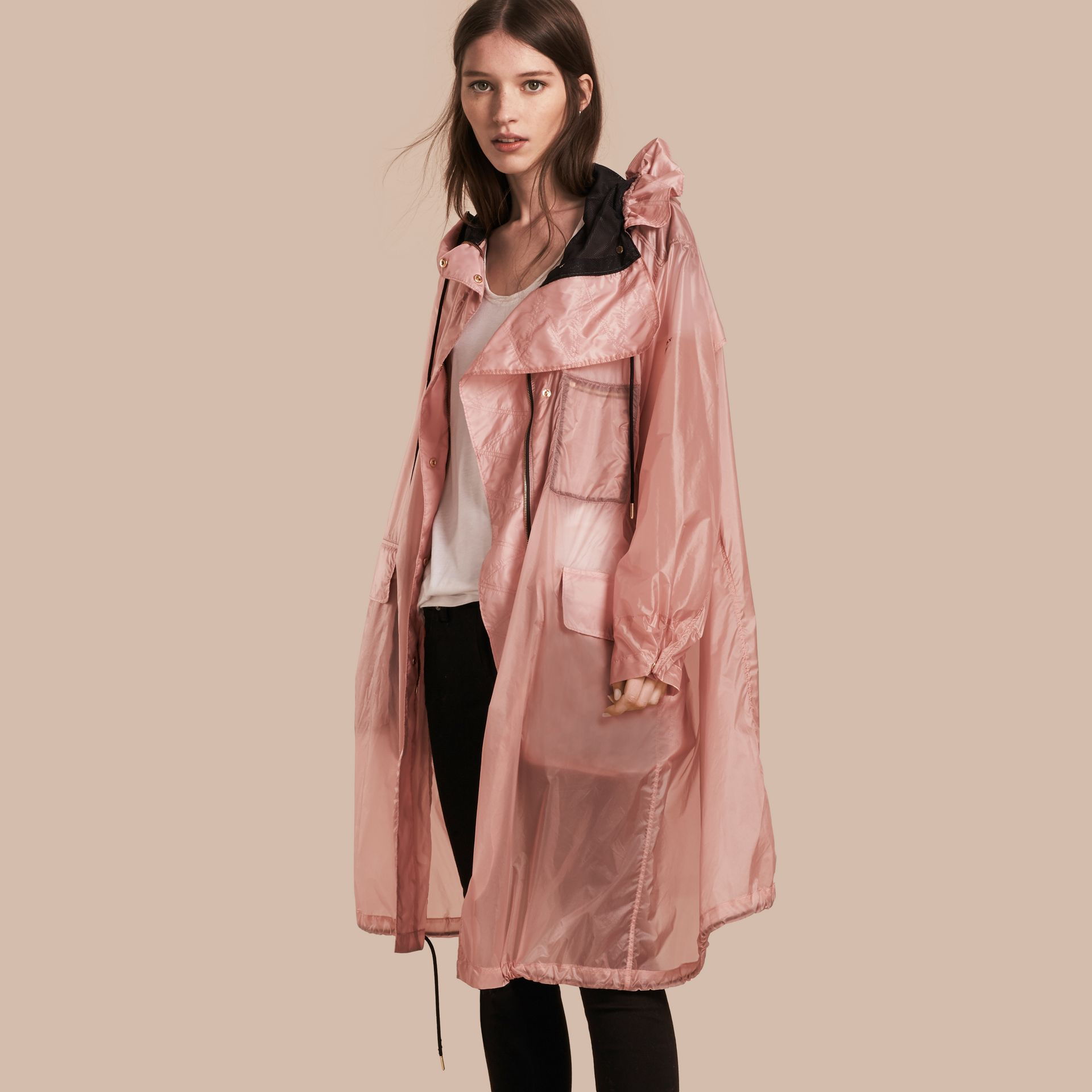 Hooded Lightweight Oversize Parka Ash Rose - gallery image 1