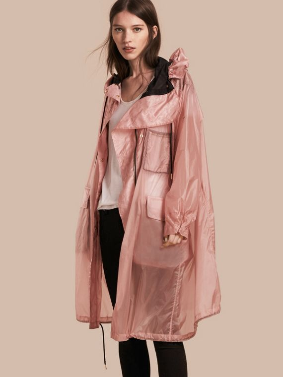 Hooded Lightweight Oversize Parka in Ash Rose
