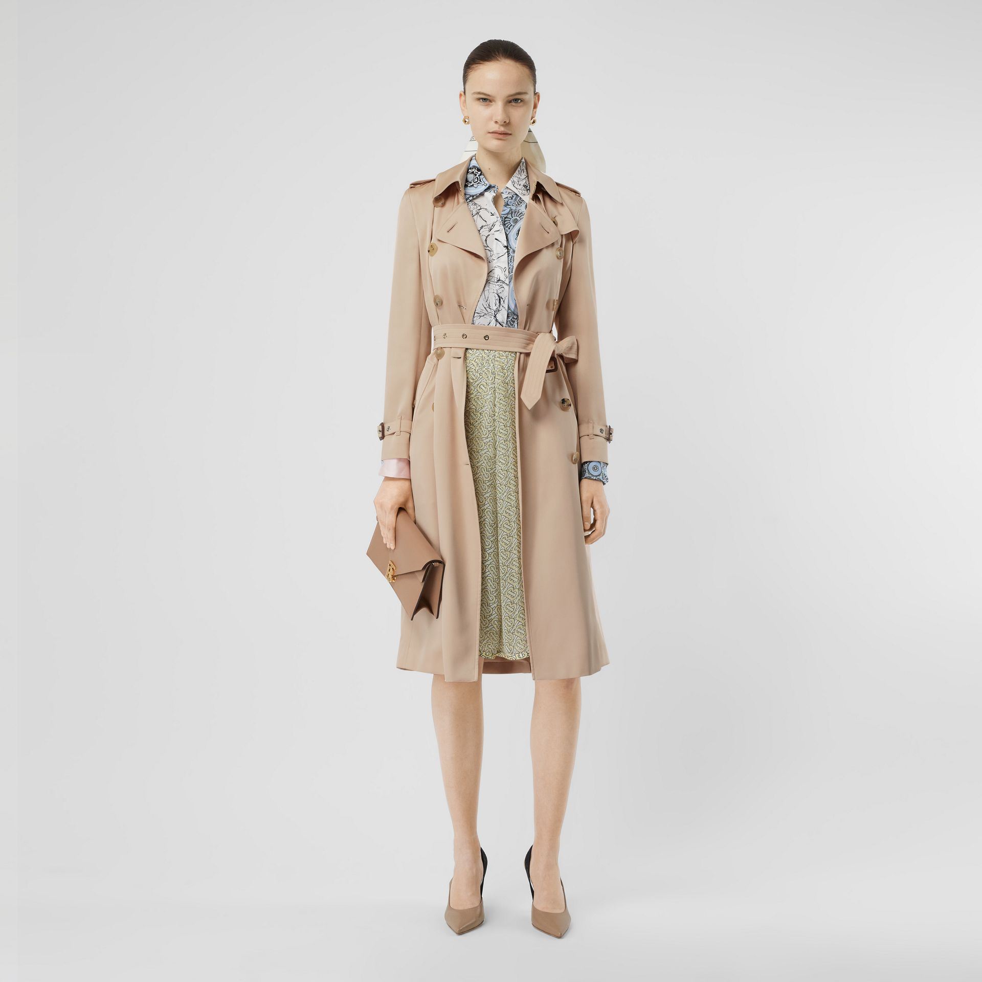 Silk Satin Trench Coat in Pale Blush - Women | Burberry - gallery image 0