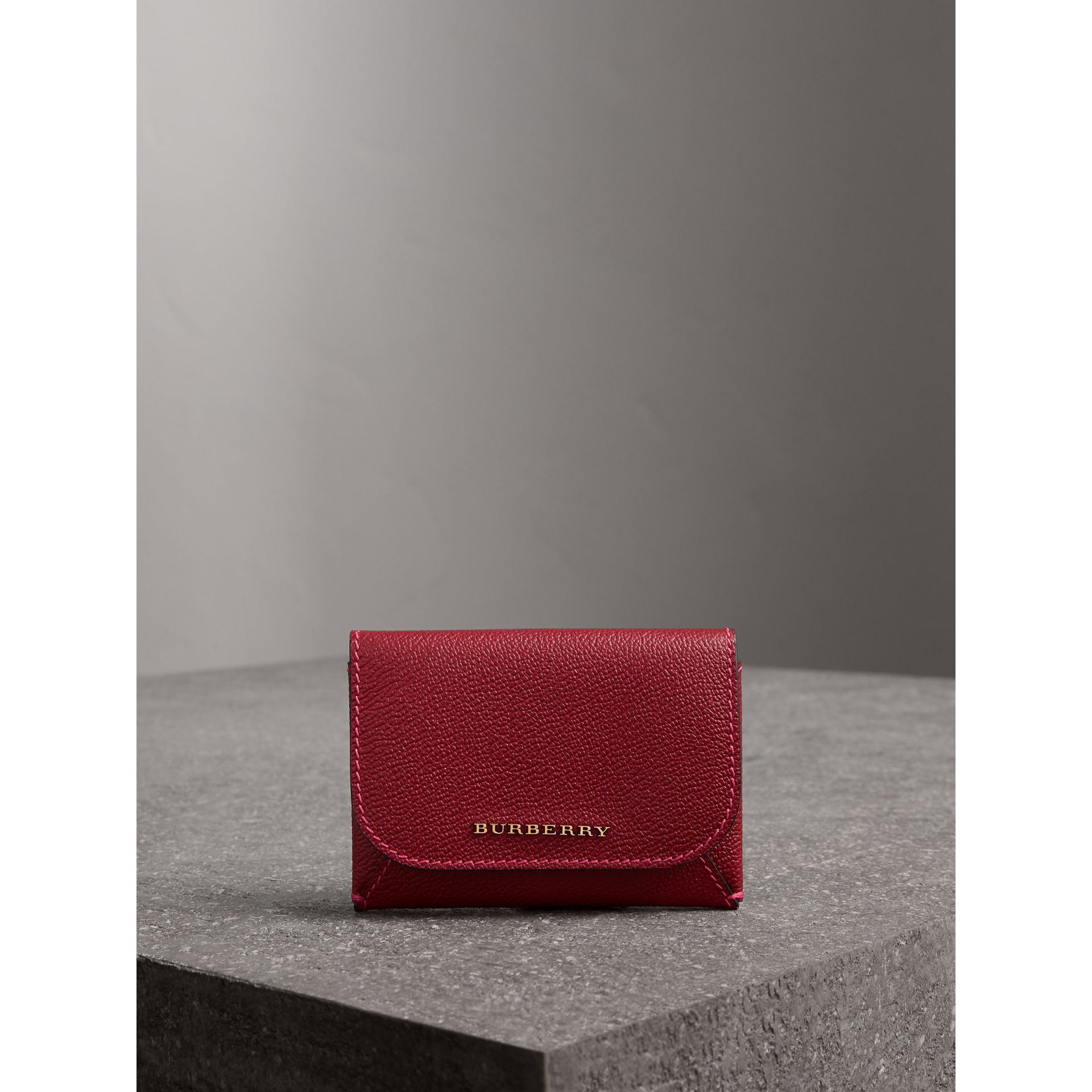 Leather Coin Case with Removable Card Compartment in Parade Red/multicolour - Women | Burberry - gallery image 5