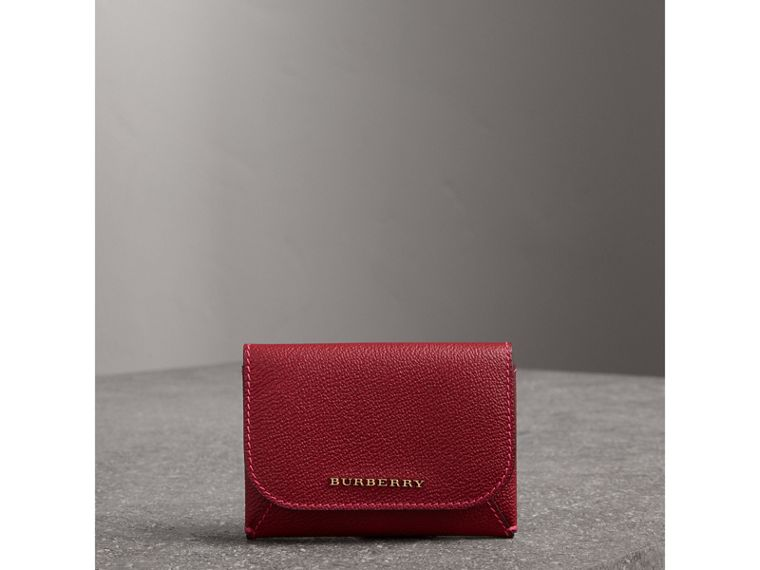 Leather Coin Case with Removable Card Compartment in Parade Red/multicolour - Women | Burberry - cell image 4