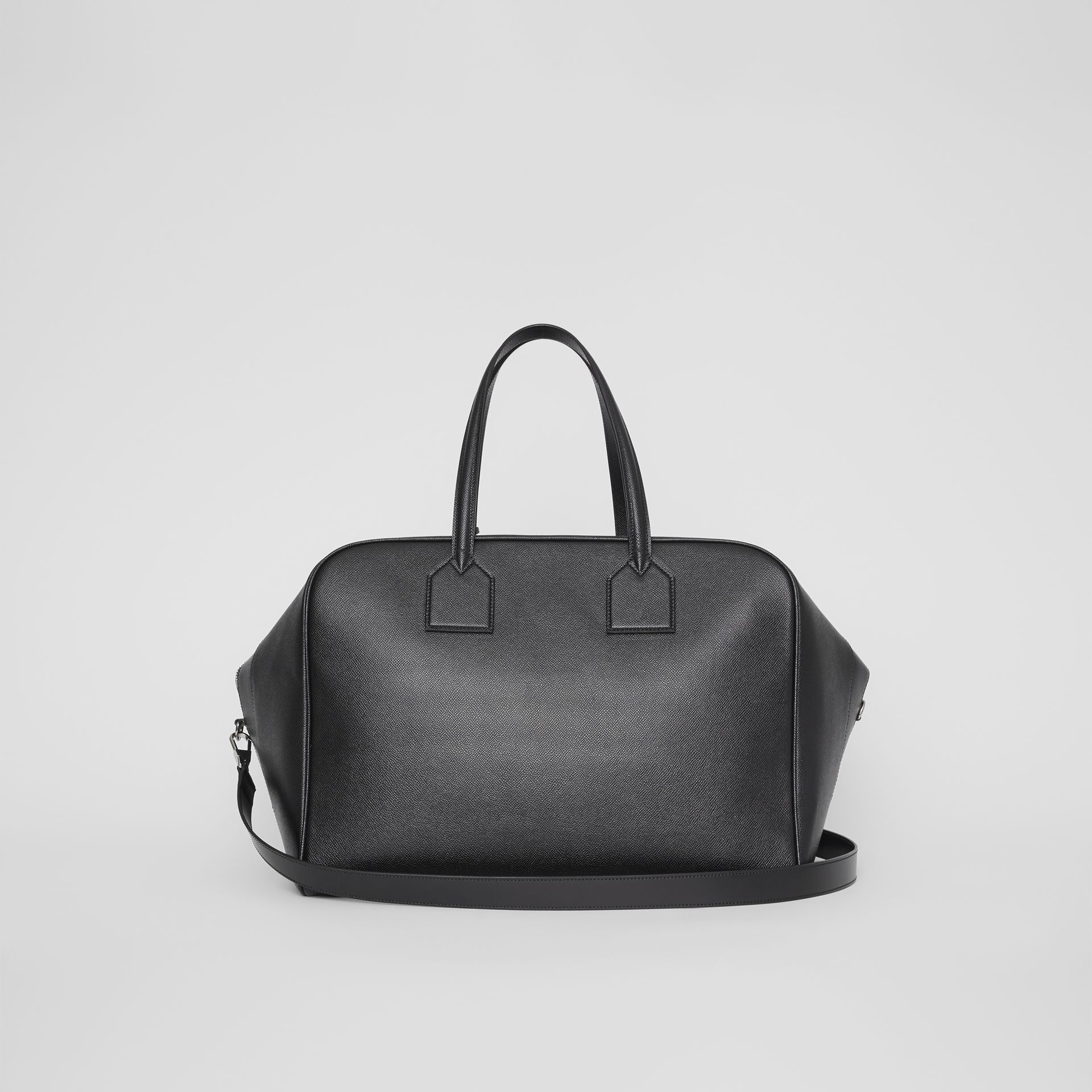 Logo Embossed Leather Holdall in Black | Burberry United Kingdom - gallery image 7