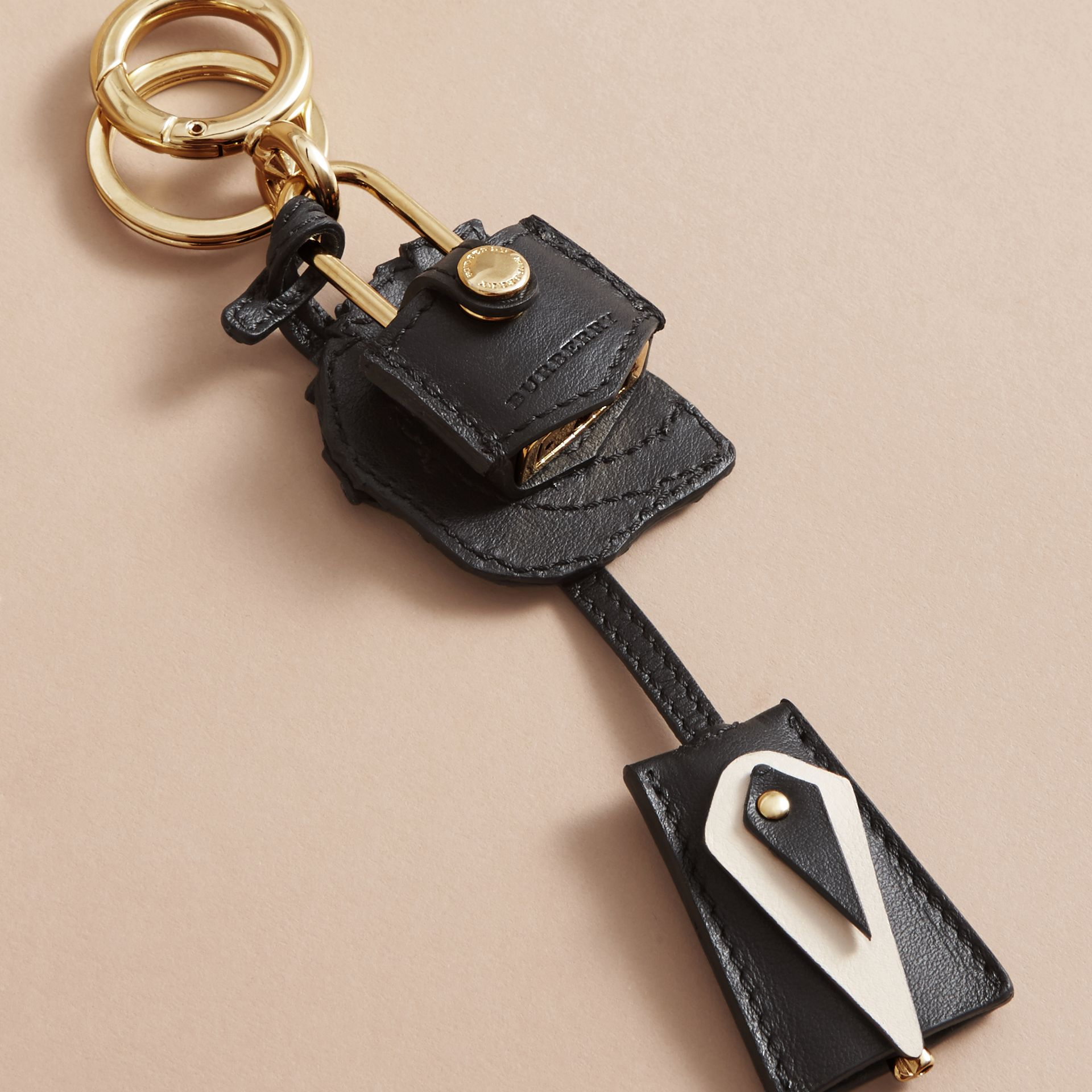 Pallas Helmet Motif Leather Key Charm with Padlock in Black/white - Women | Burberry - gallery image 3