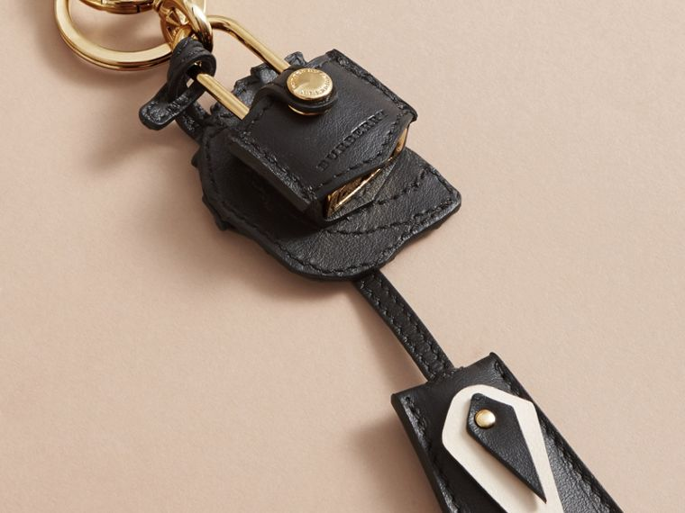 Pallas Helmet Motif Leather Key Charm with Padlock in Black/white - Women | Burberry Canada - cell image 2
