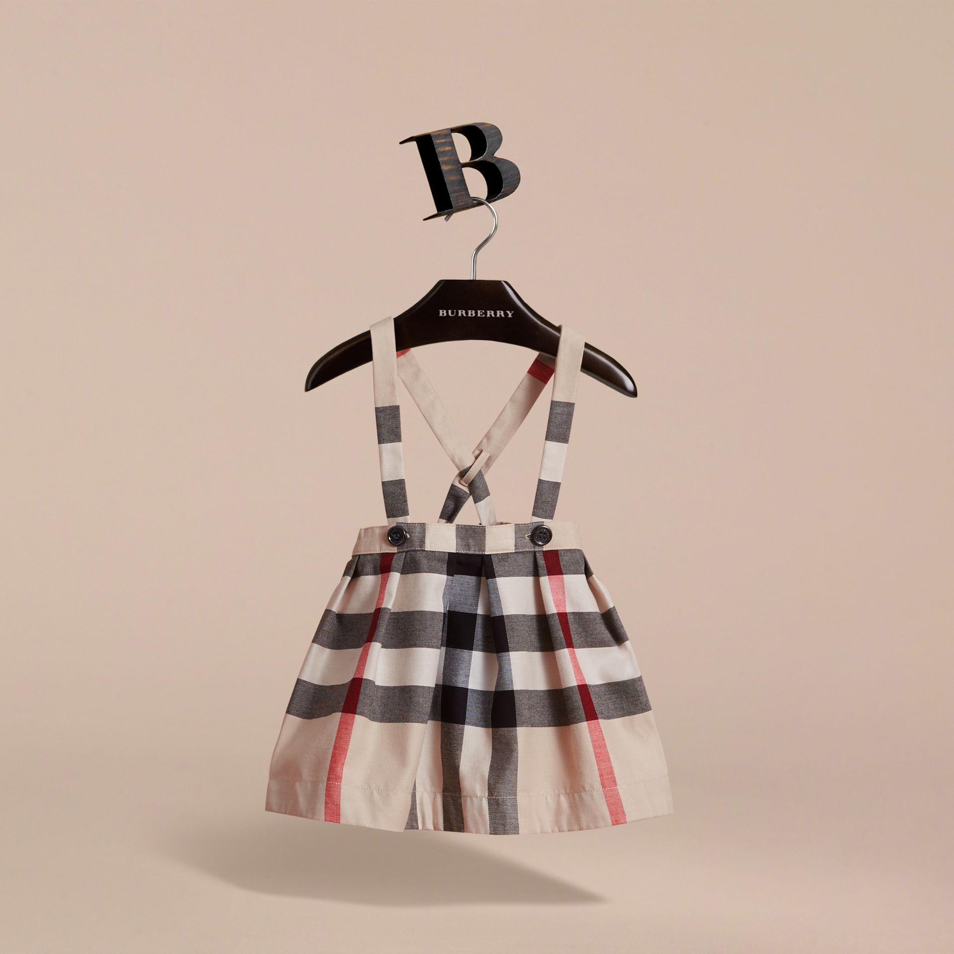 Detachable Strap Check Cotton Skirt in Stone | Burberry - gallery image 3