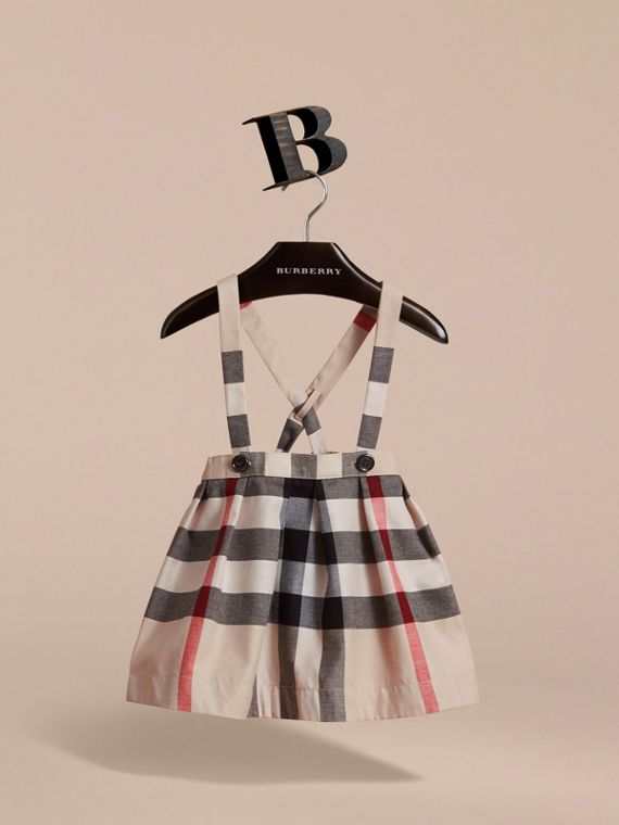 Detachable Strap Check Cotton Skirt in Stone | Burberry United Kingdom - cell image 2